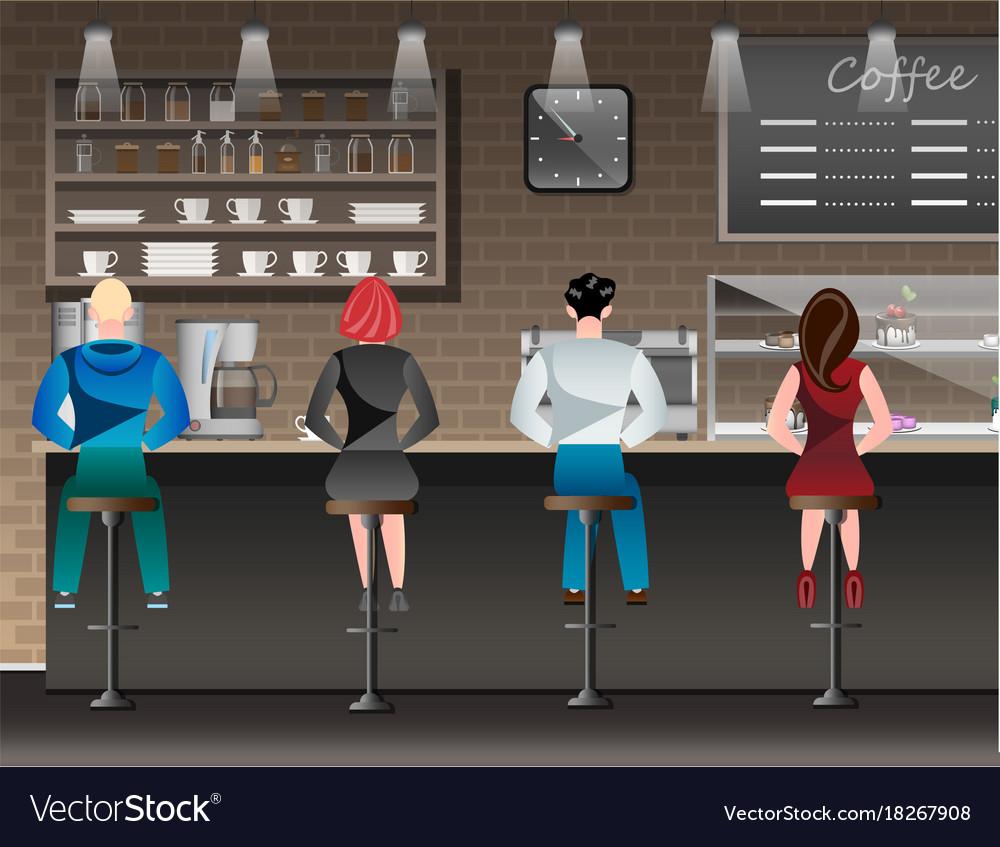People set sitting in restaurant cafe or bar