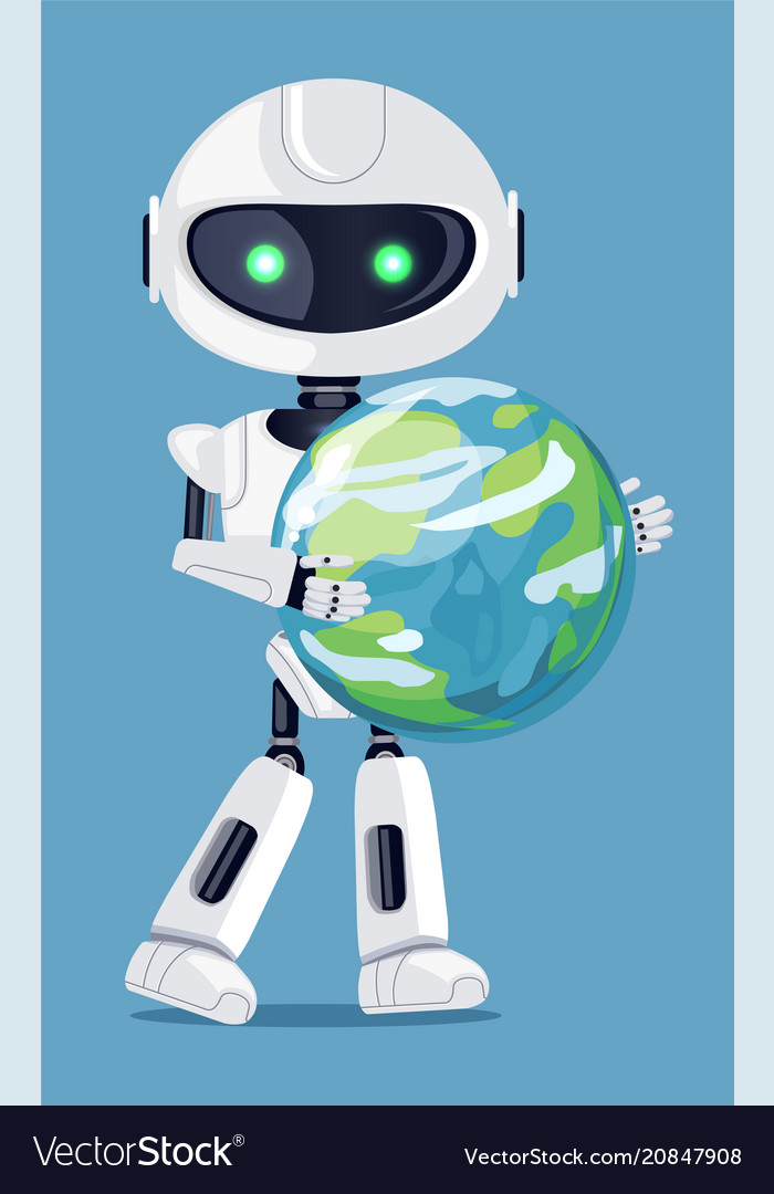 Robot holding globe in hands