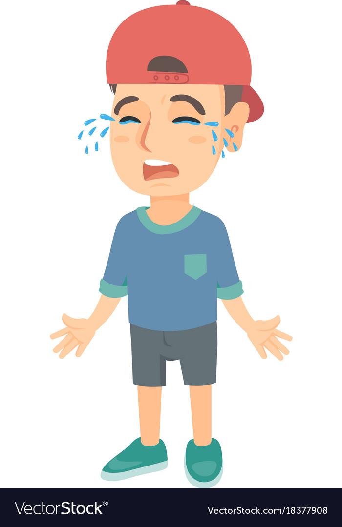 Sad caucasian boy in a cap sobbing
