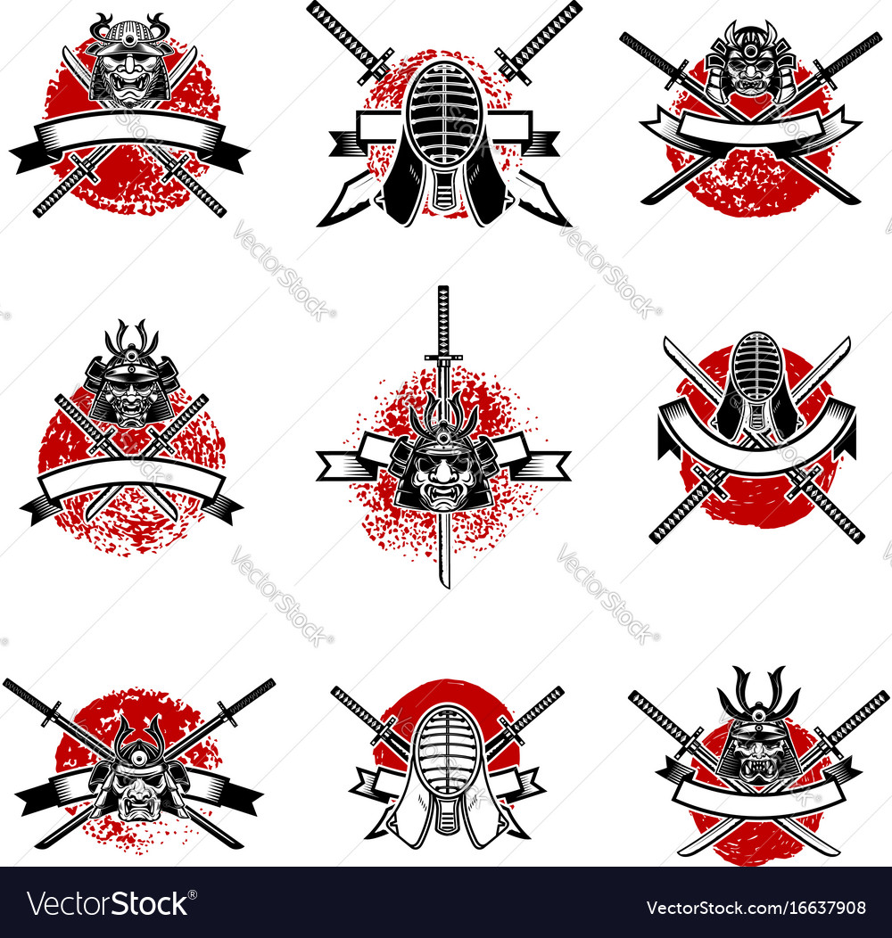 Set of emblems with japanese swords samurai masks