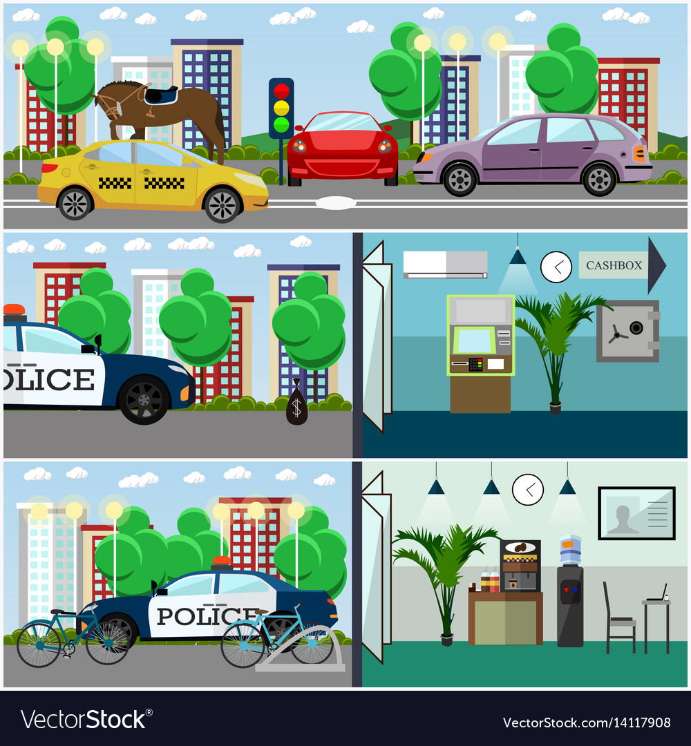 Set of police interior posters banners in vector image