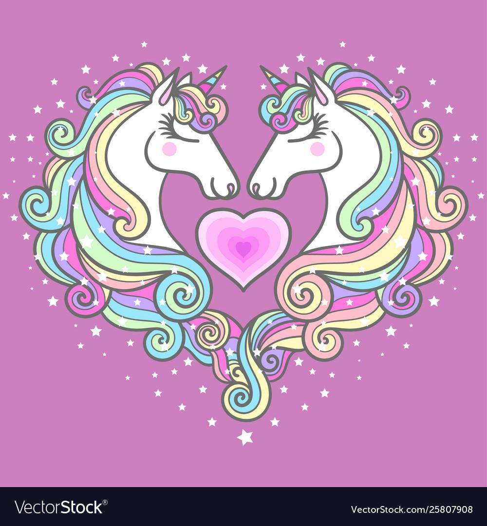 Two beautiful white unicorns and a pink heart