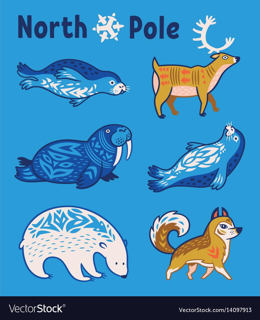 Arctic animals set in cartoon style