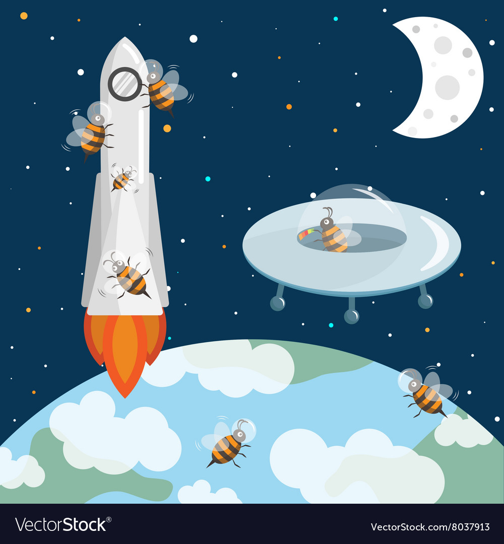 Bees astronauts in the space UFO and rocket
