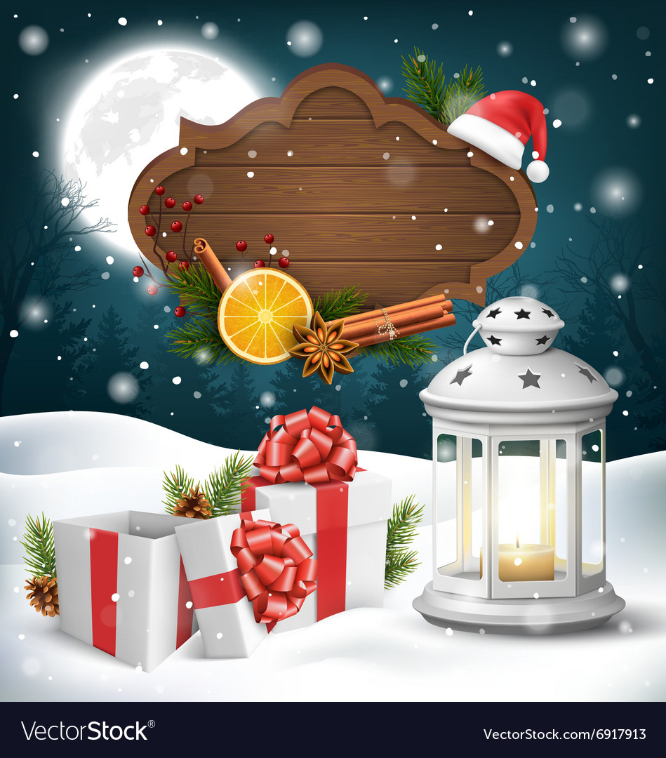 Christmas Lantern with Gift Boxes Wooden Frame and vector image