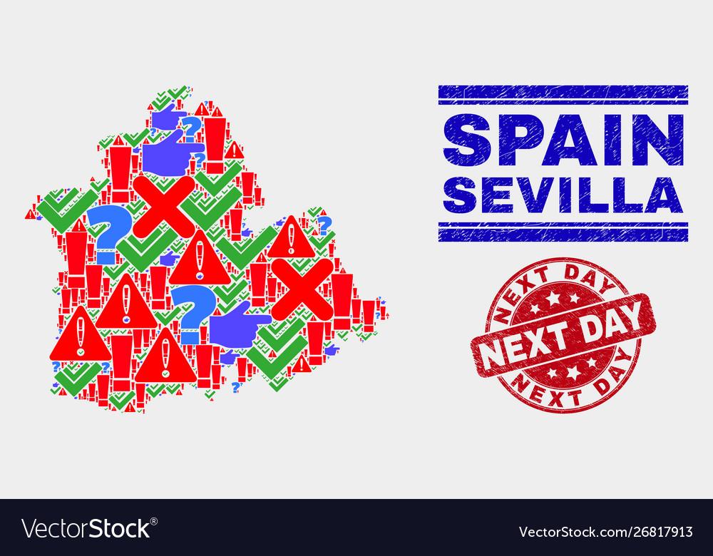 Composition sevilla province map symbol mosaic