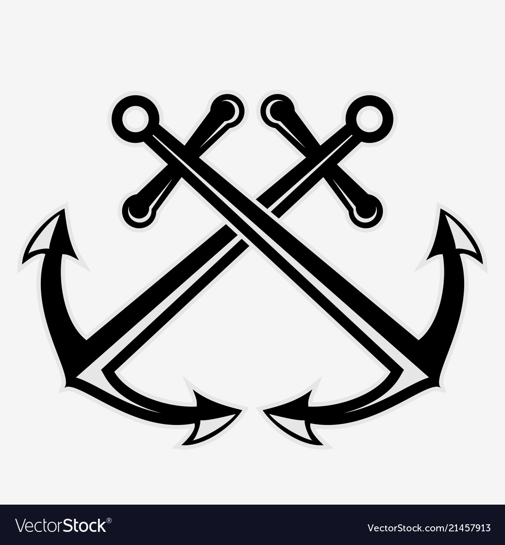 Crossed nautical anchors icon