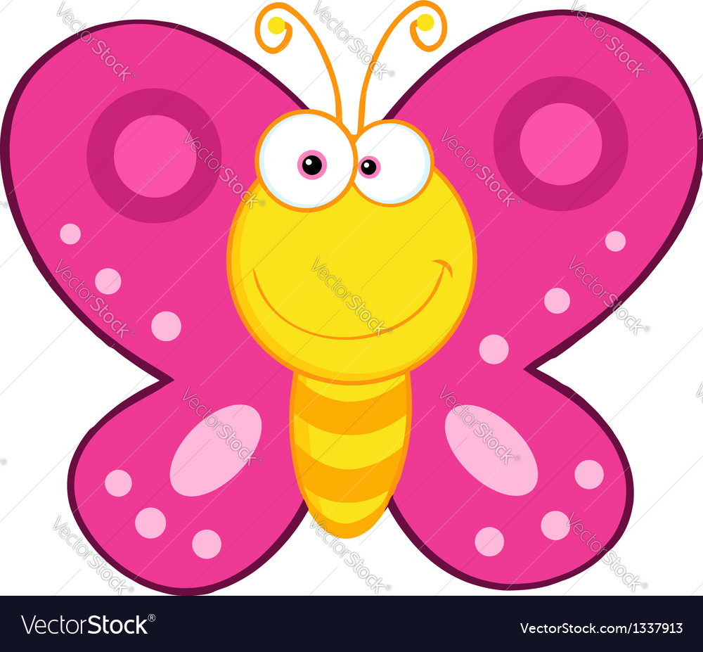 cute butterfly cartoon mascot character royalty free vector rh vectorstock com cartoon butterfly images clip art butterfly cartoon images black and white
