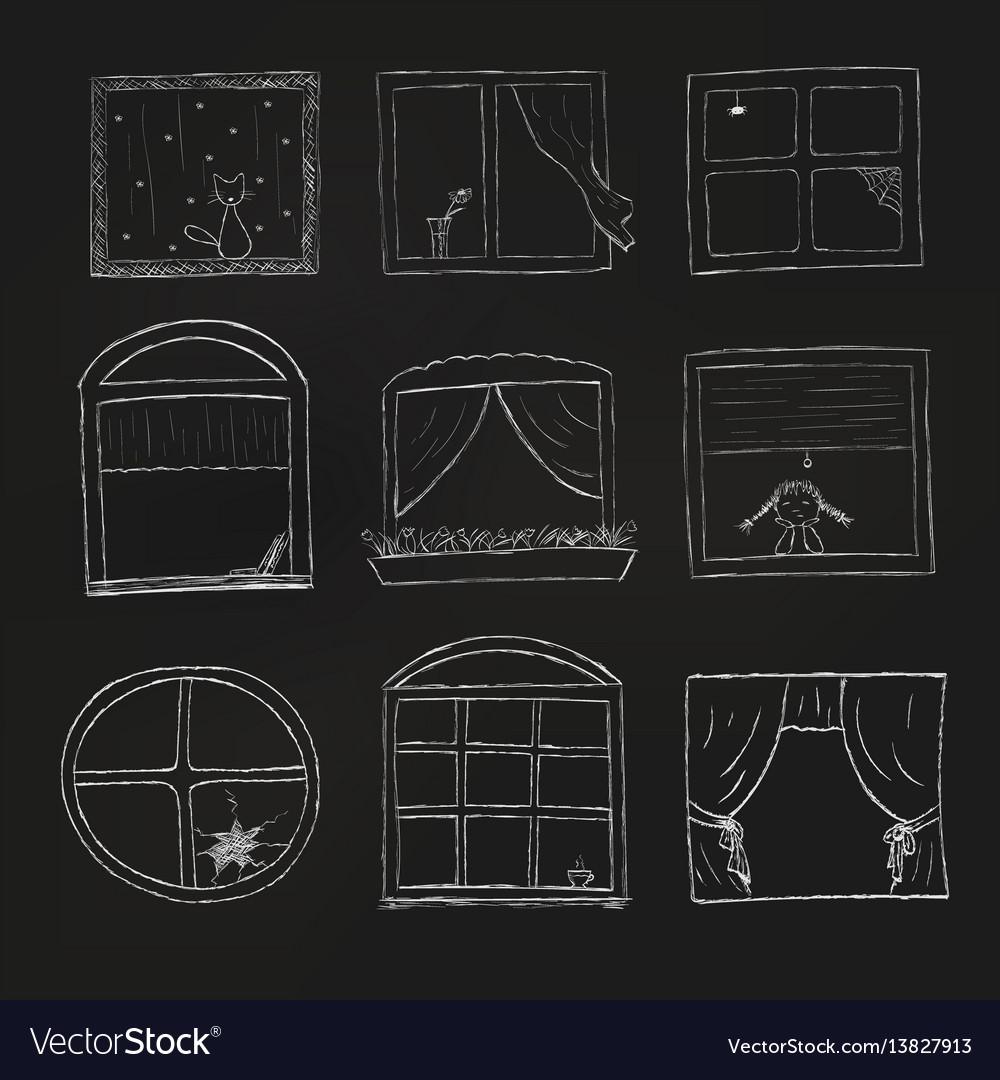 Doodle windows set isolated on black background