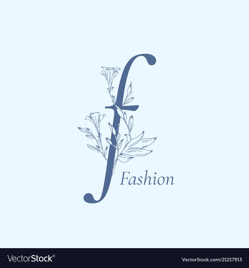 Fashion floral letter f abstract sign