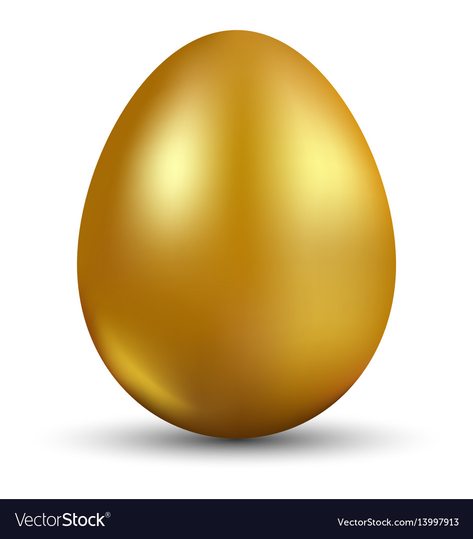 Golden egg isolated on white background for vector image
