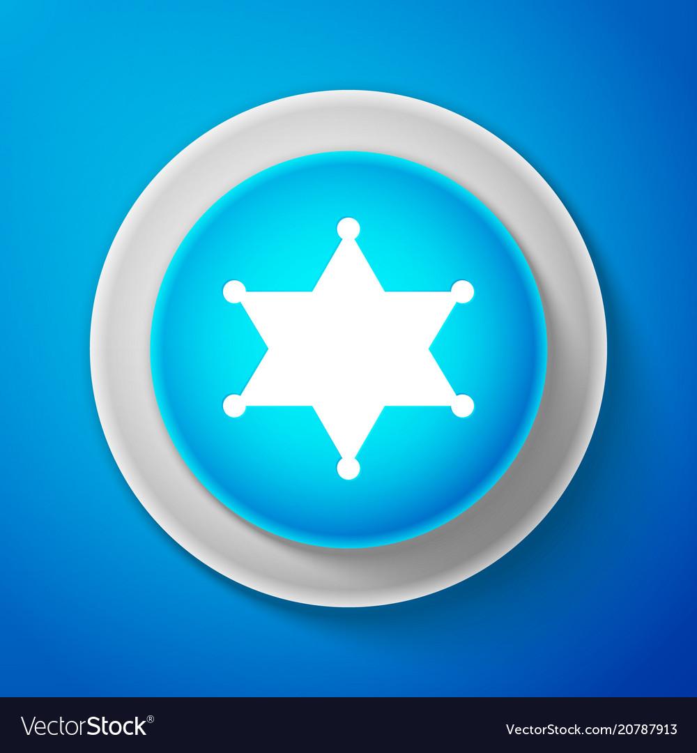 Hexagram sheriff icon isolated on blue background