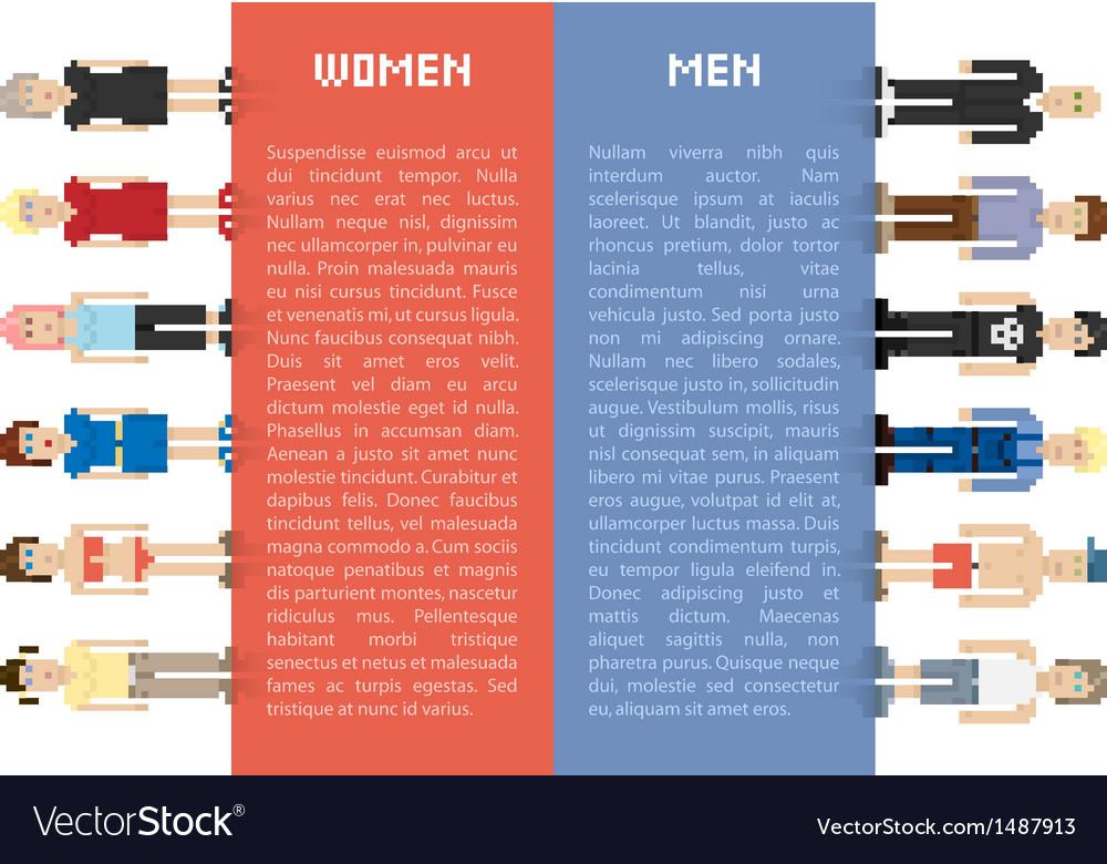 Pixel men and women vector image