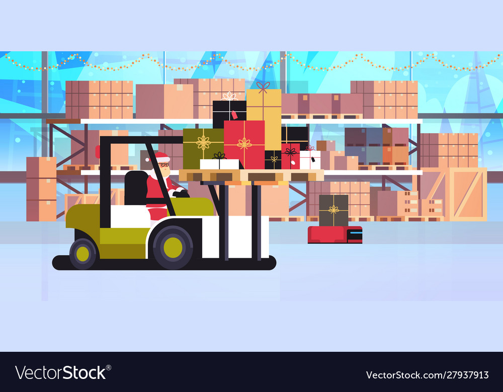 Santa claus on forklift truck loading colorful