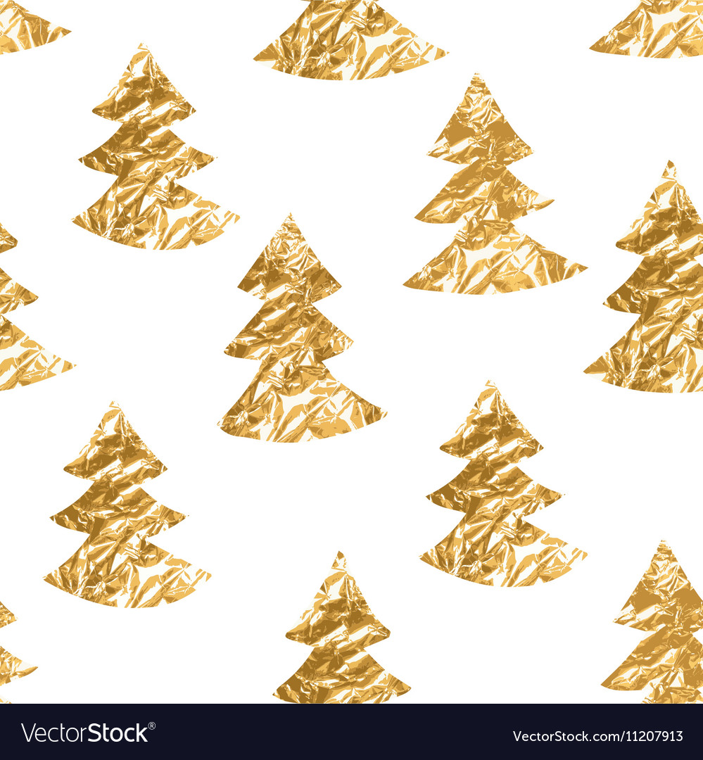 Seamless pattern with gold leaf textured spruces