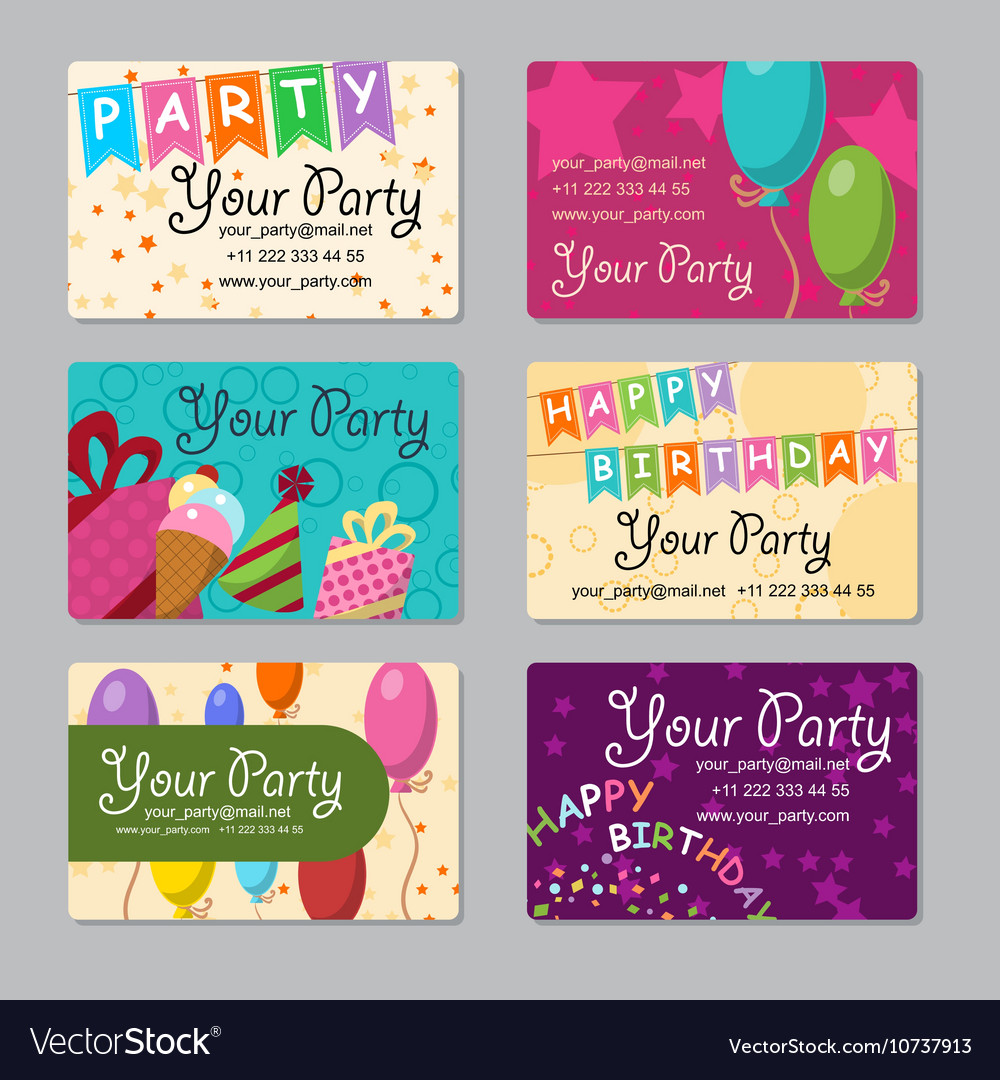 Set business card your party with gifts Royalty Free Vector