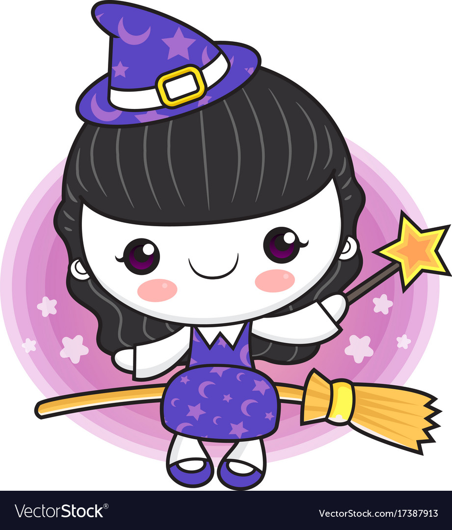Witch mascot fly on a broom halloween day