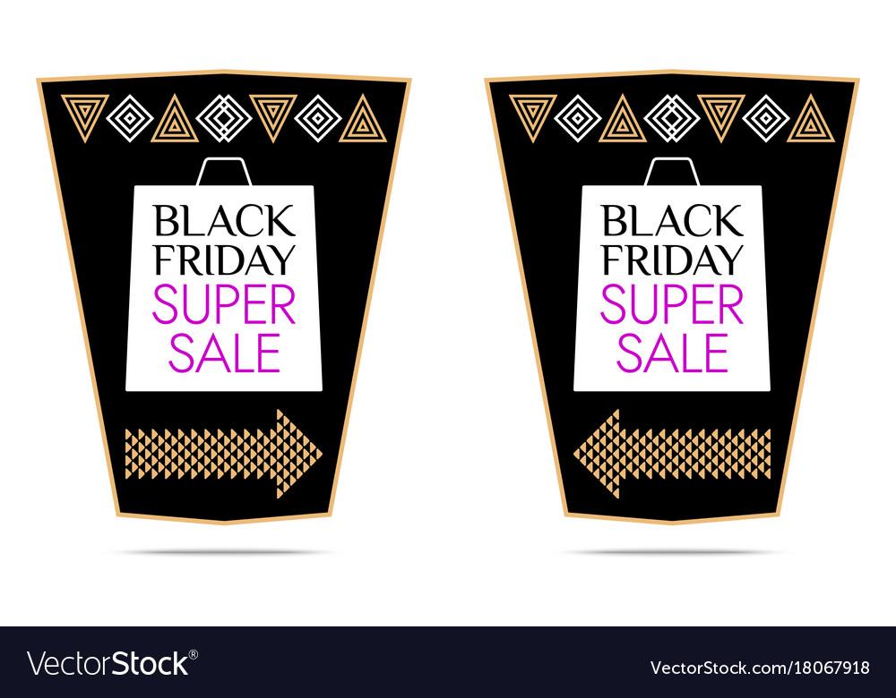 Black friday super sale sticker vector image