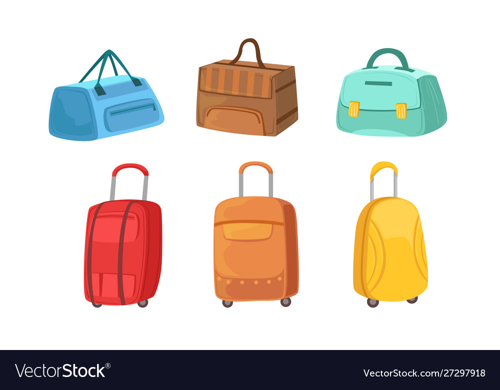 Collection suitcases set leather textile and