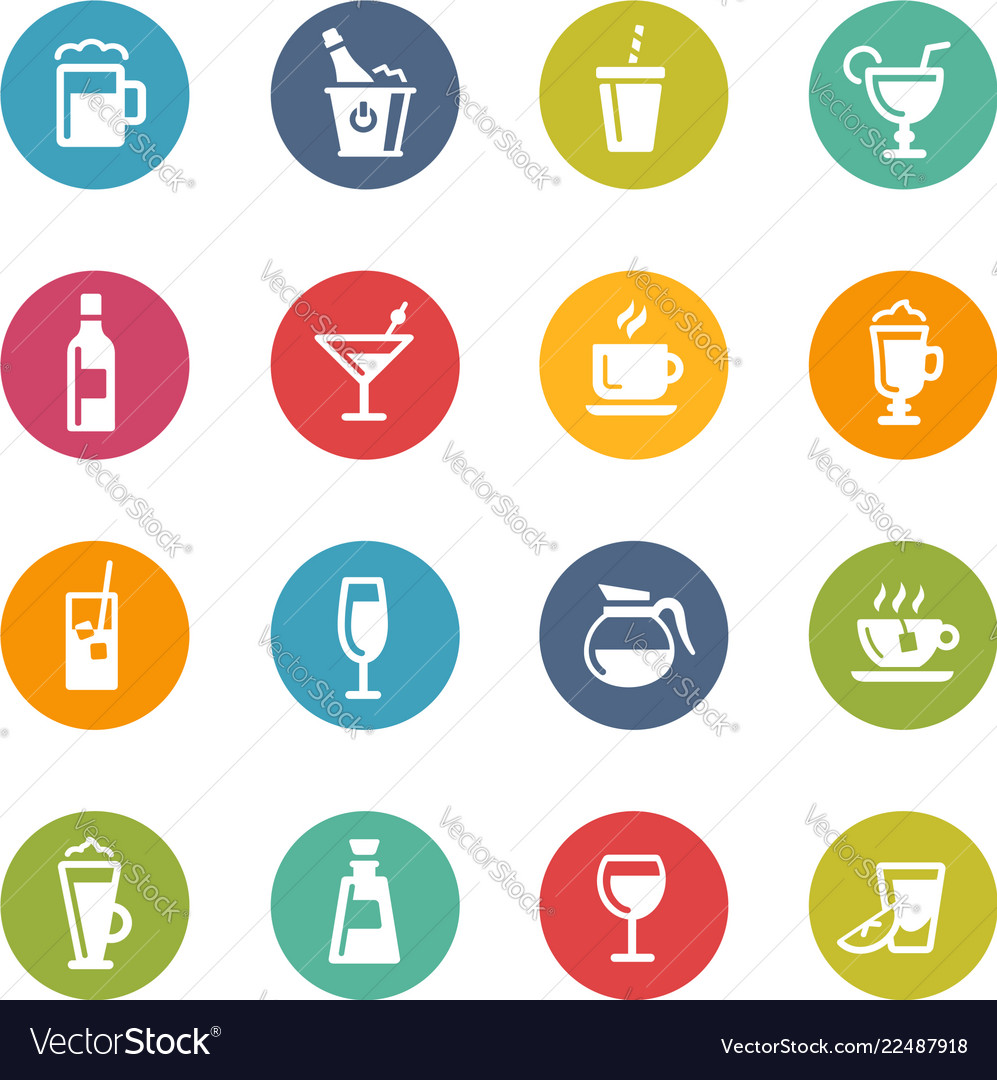 Drinks icons - fresh colors series