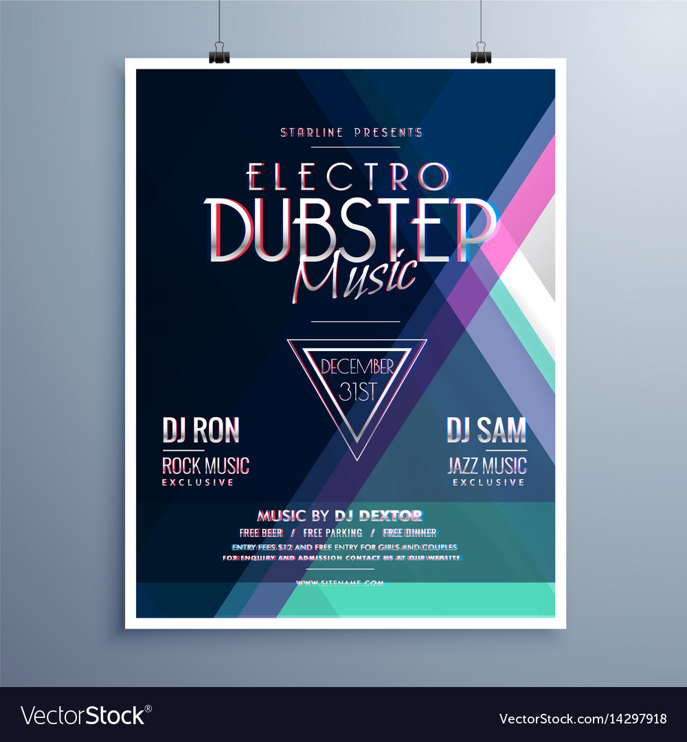 Electro Music Party Event Flyer Template Vector Image On Vectorstock
