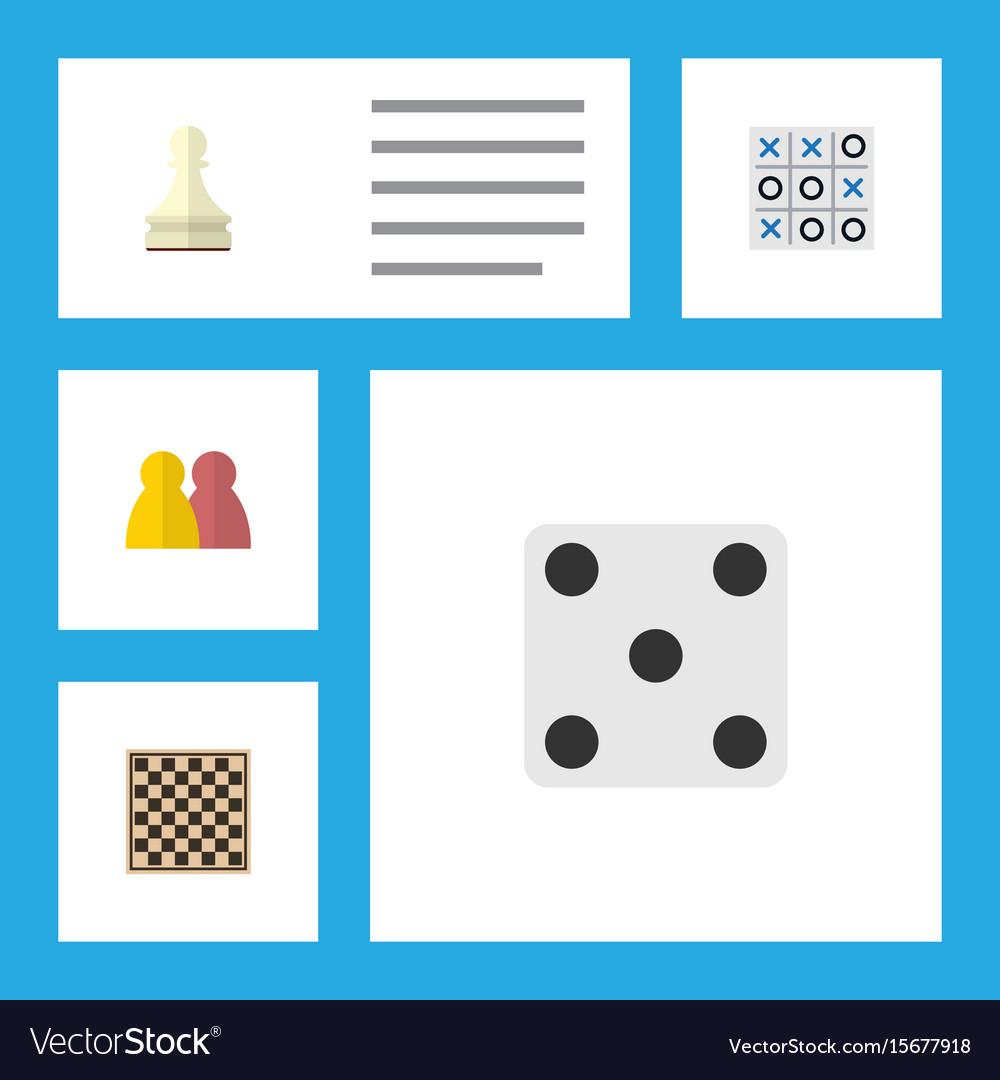 Flat icon play set of people xo chess table and