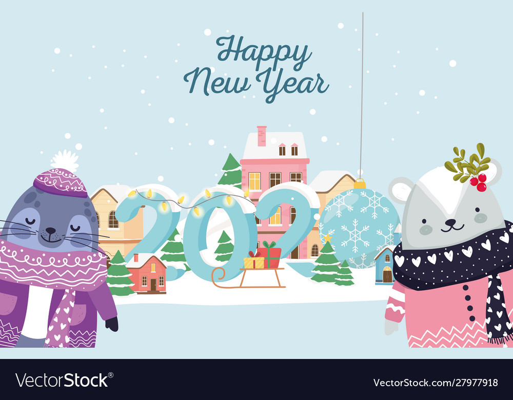 Happy new year 2020 celebration seal and bear with
