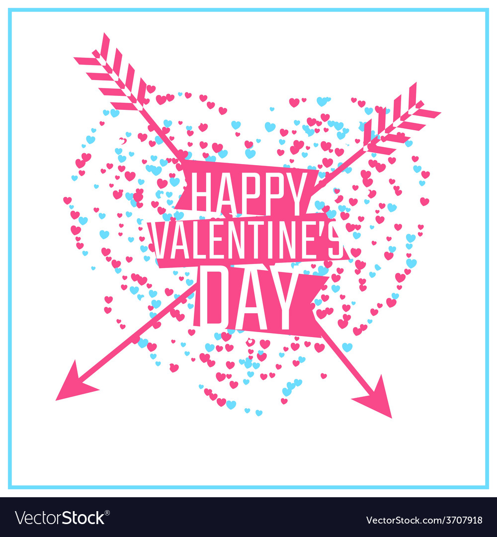Happy Valentines day greeting or invitation card vector image