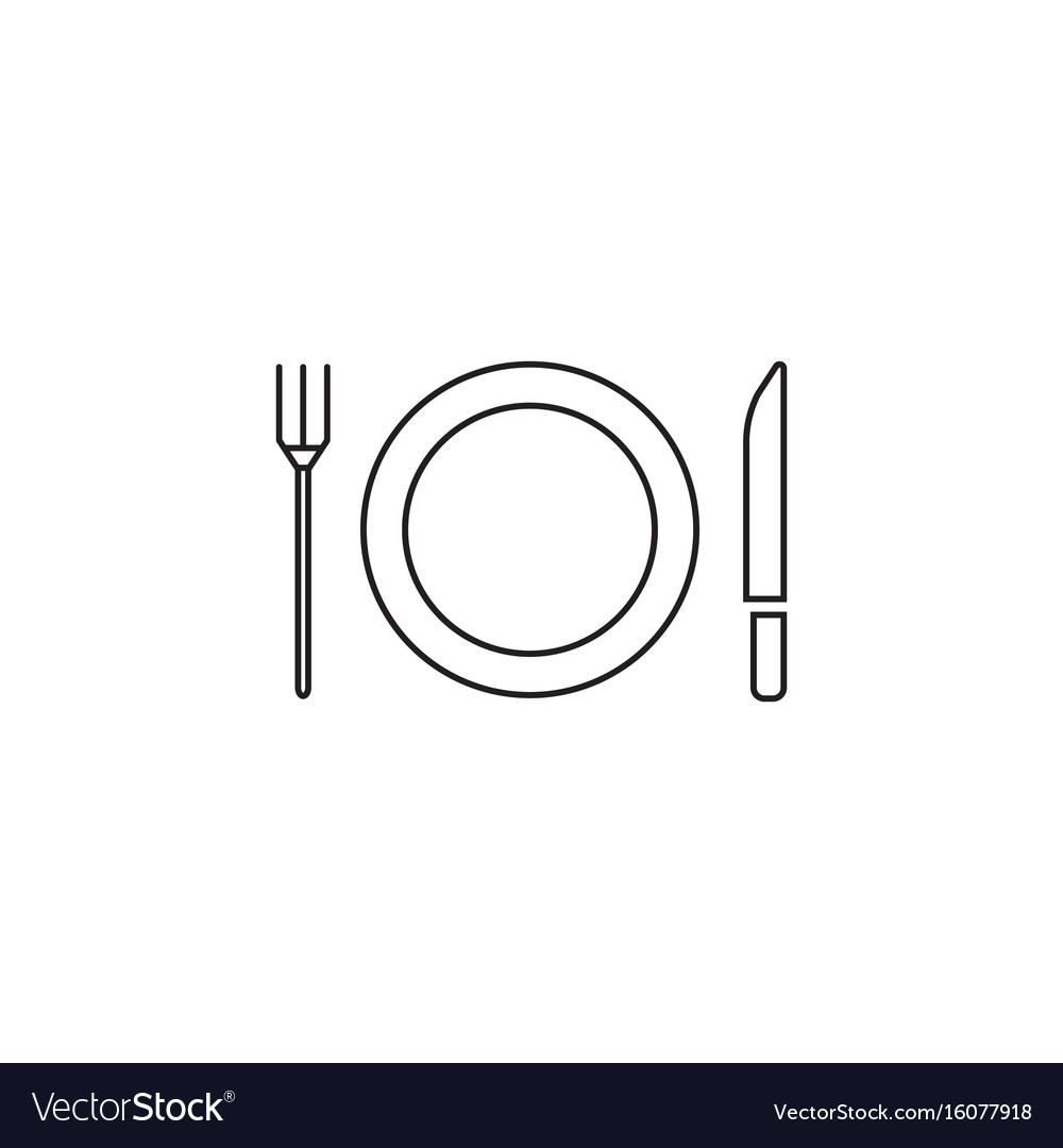 Plate fork and knife line icon dishware vector image