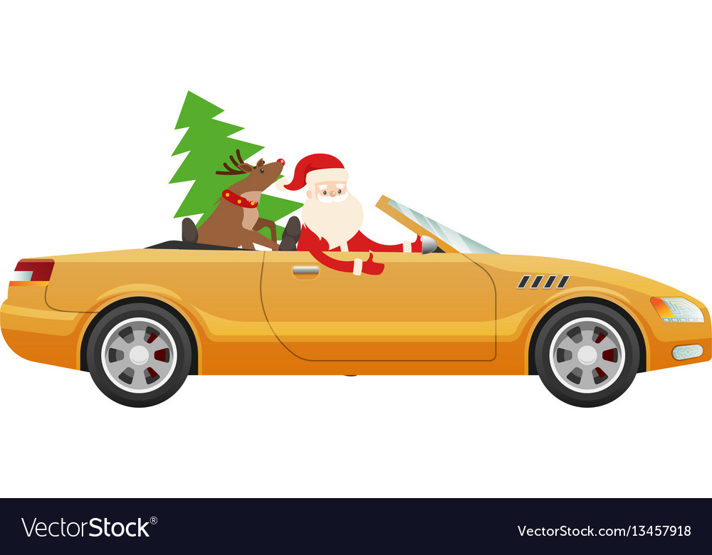 Santa claus drive on cute luxury car with reindeer vector image
