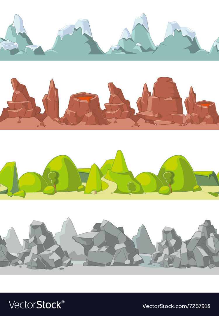 Seamless mountains set in cartoon style
