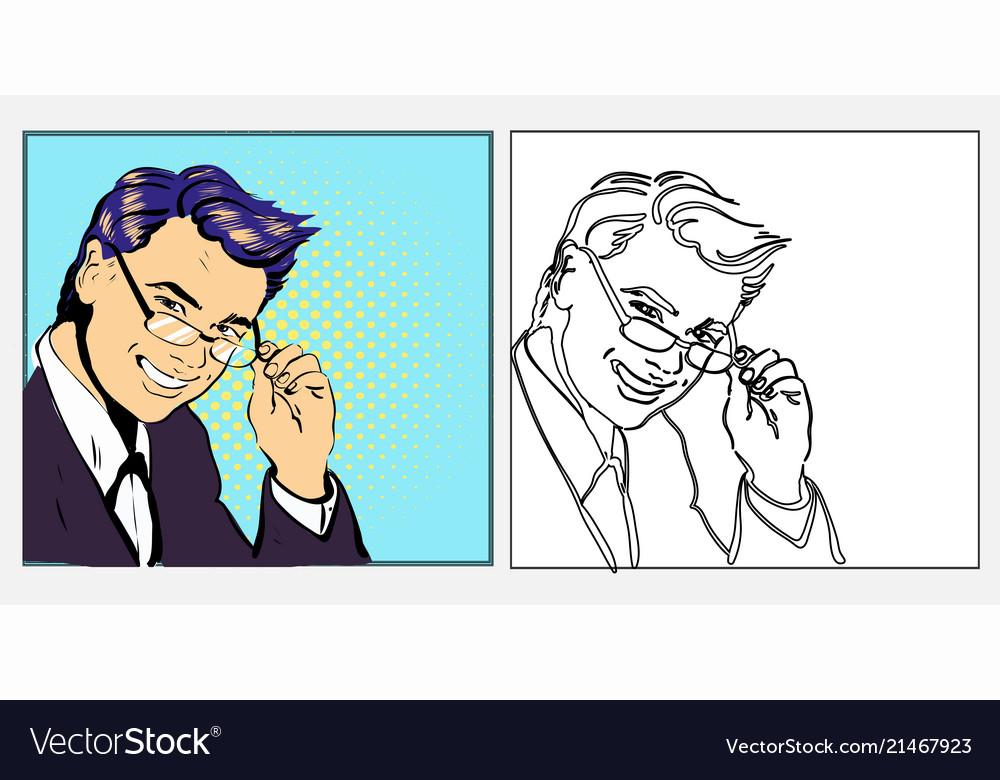 Businessman or teacher handsome in glasses smiling