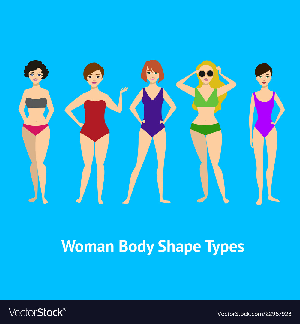 43c821f0b Cartoon woman body shape different types set Vector Image