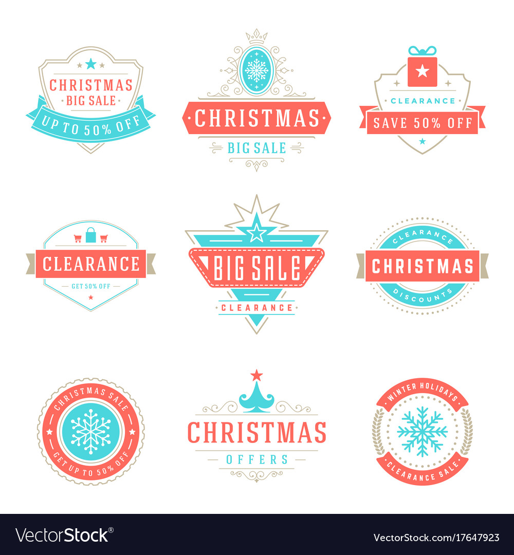 Christmas sale badges badges and tags design