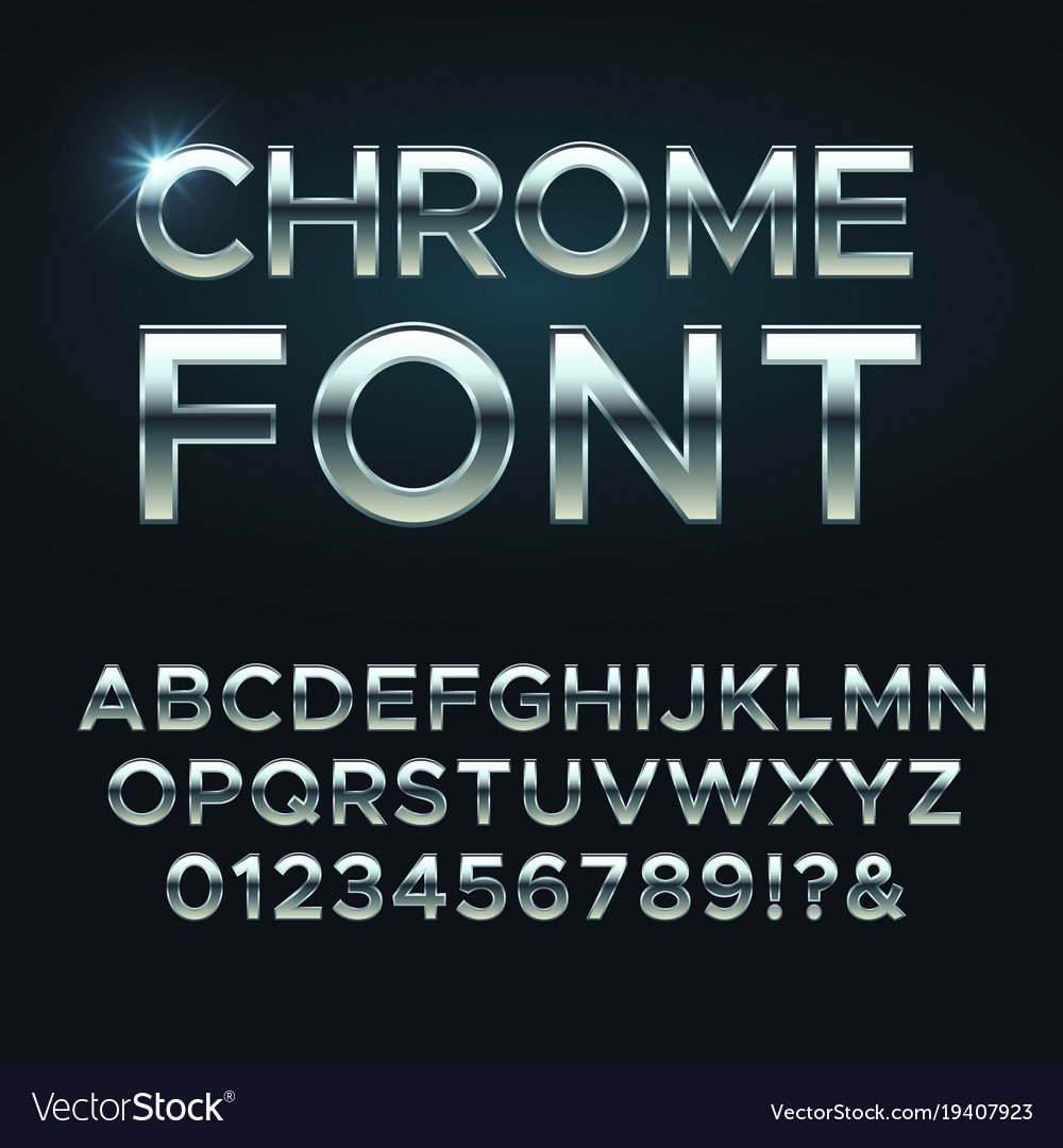 Chrome metal font steel metallic alphabet vector image
