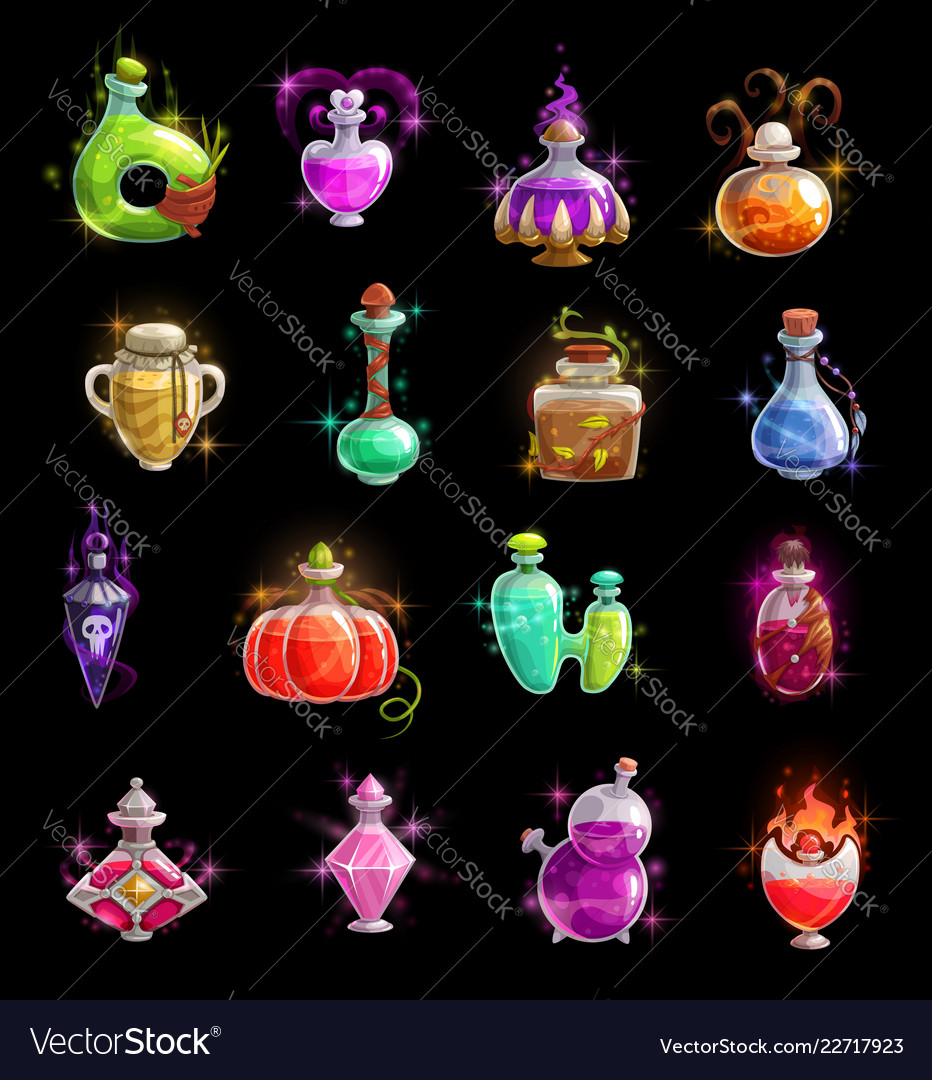 Halloween witch potion elixir and poison bottles