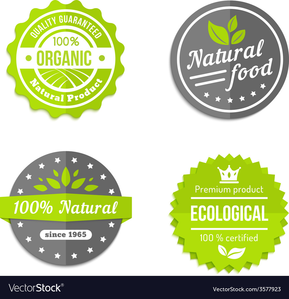 Organic natural and eco food icons set vector image