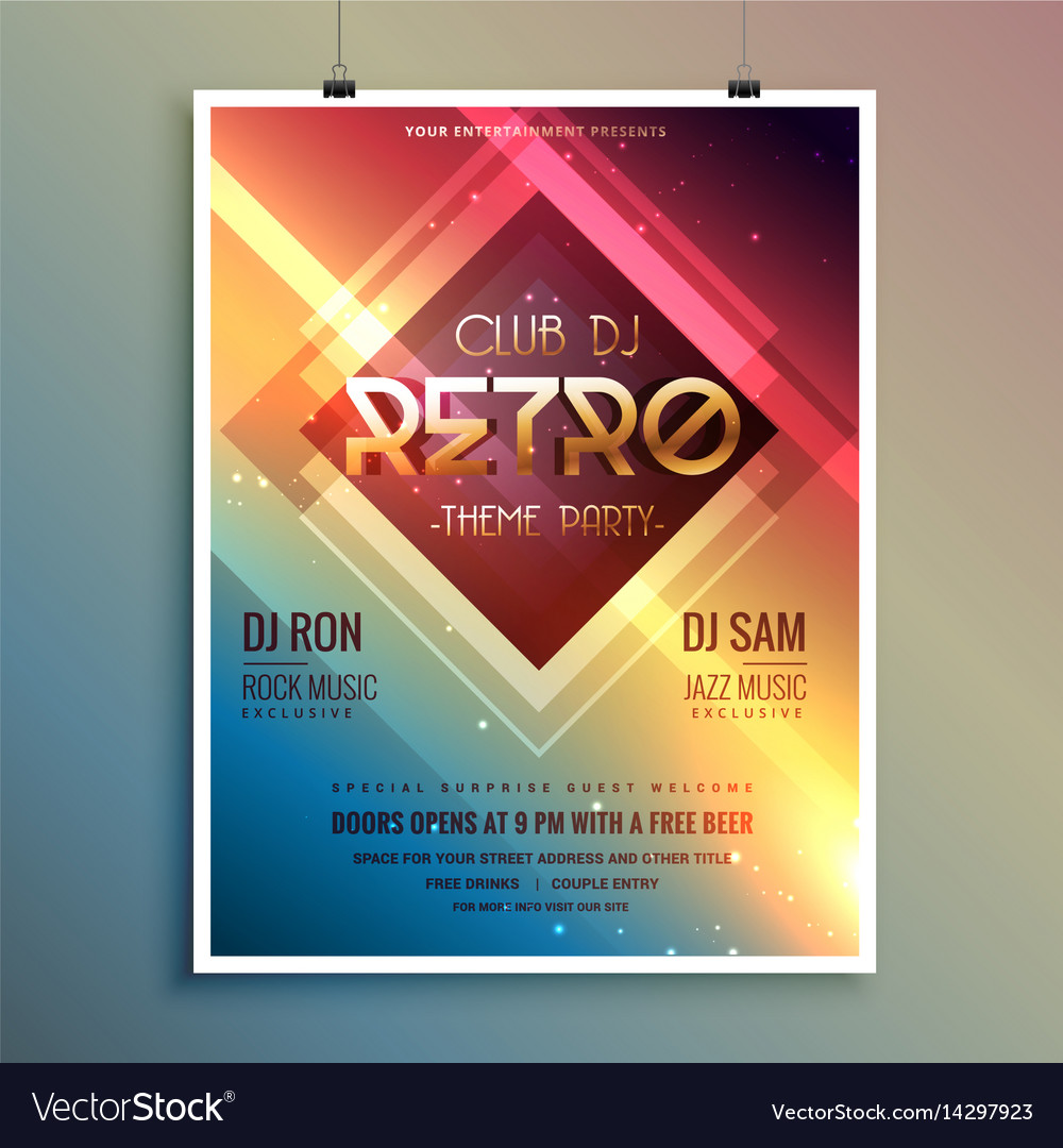 retro club theme party flyer template royalty free vector