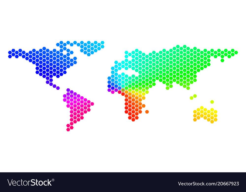 Spectrum hexagon world map royalty free vector image spectrum hexagon world map vector image gumiabroncs Gallery