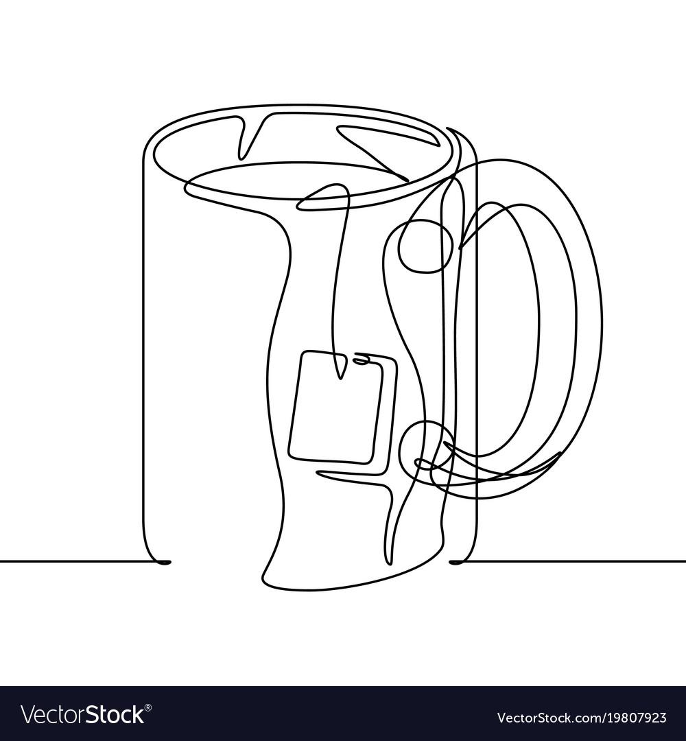 Tea Mug Continuous Line Royalty Free Vector Image