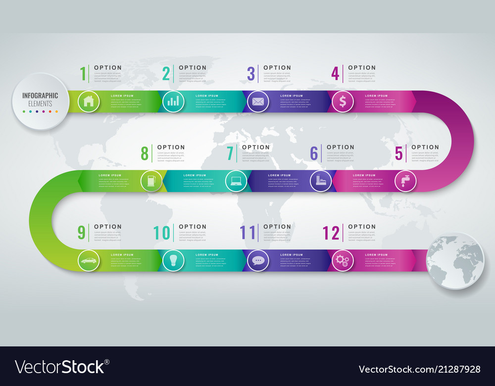 Abstract 3d infographic template with 12 options