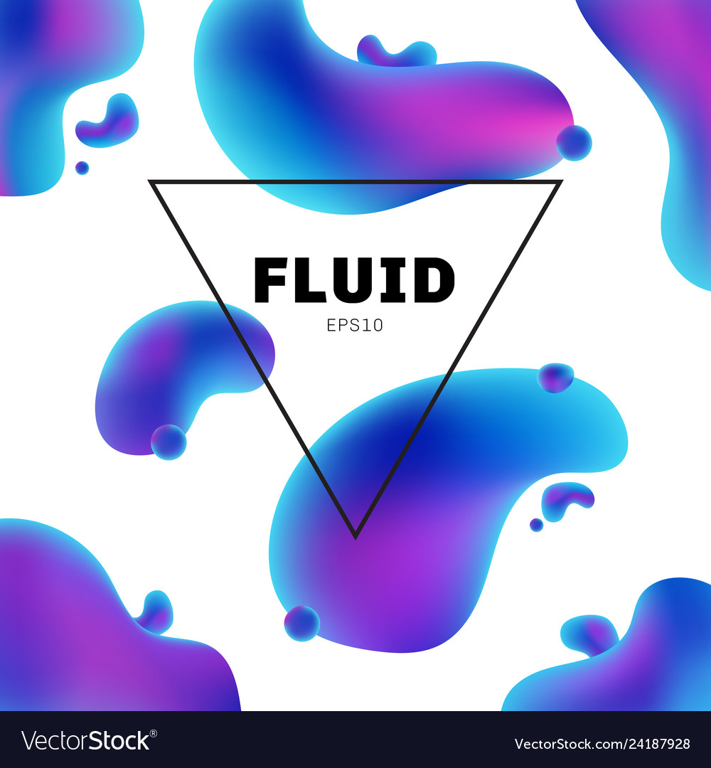Abstract fluid holographic colors shape with text
