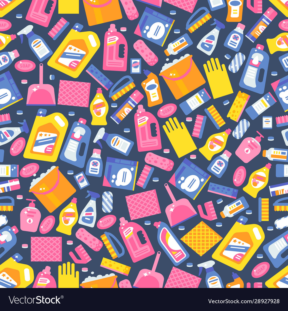 Cleaning products icons in seamless pattern