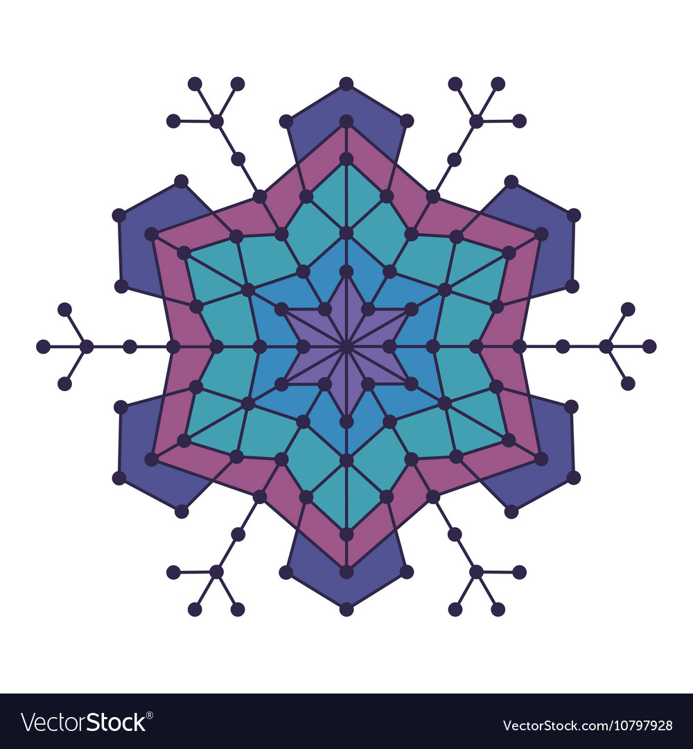 Geometric snowflake with lines and circles
