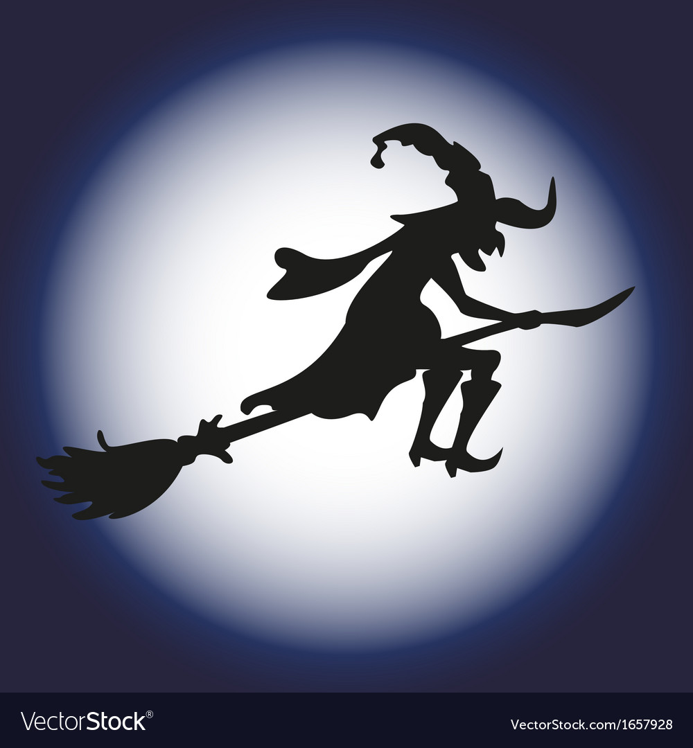 Halloween witch and moon silhouette Isolated