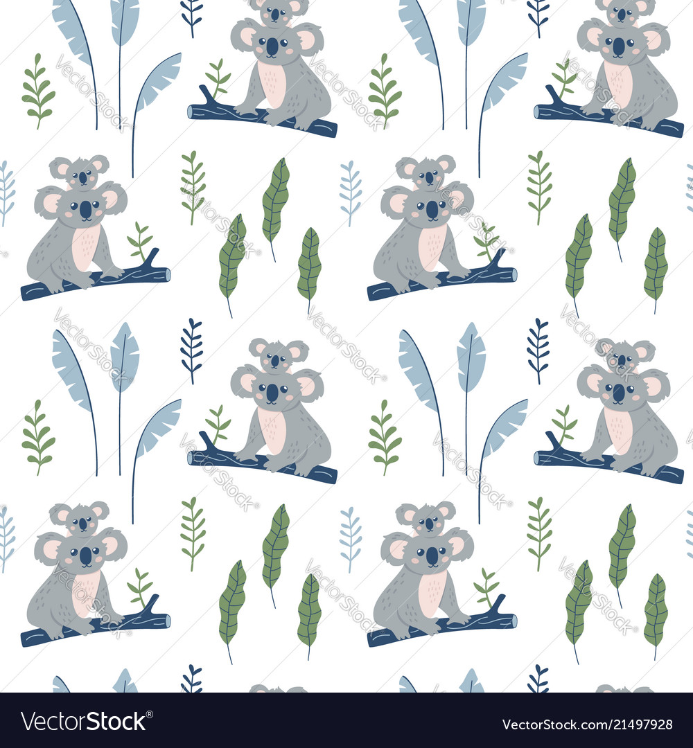 Hand drawn seamless pattern with koala mother and