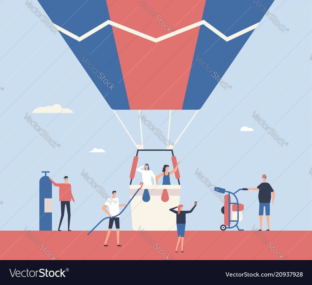 Hot air balloon trip - flat design style