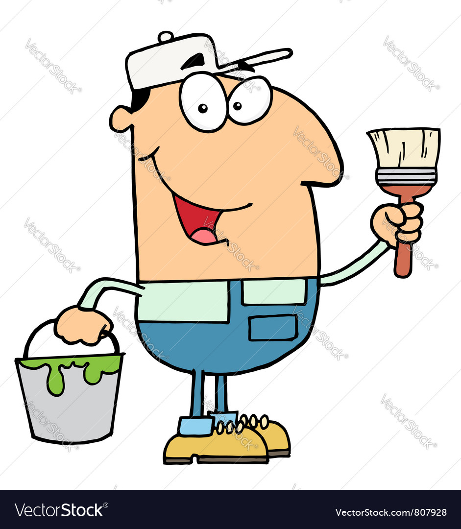 House Painter Holding A Pail And Paintbrush vector image
