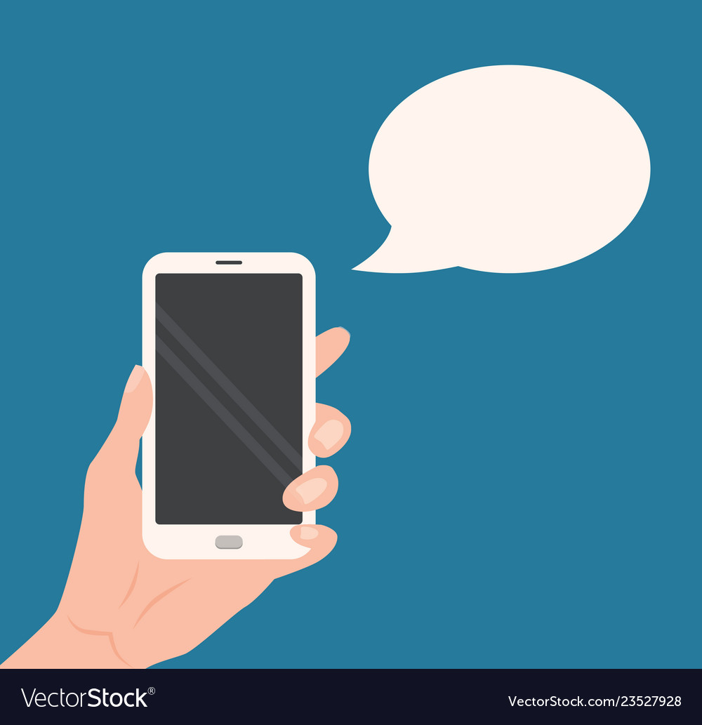 Human hand holding smartphone with empty screen
