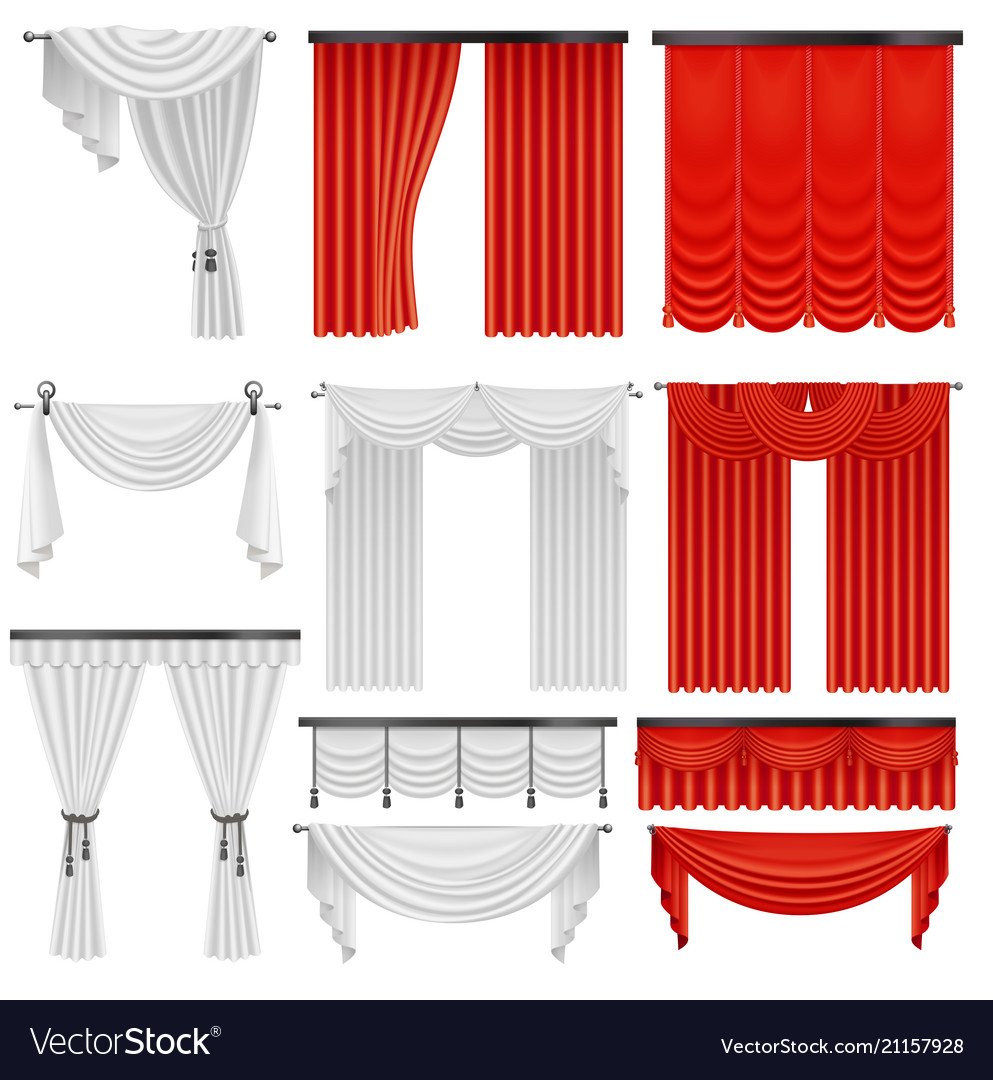 Red And White Velvet Silk Curtains Draperies Vector Image